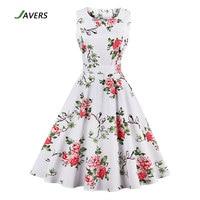 JAVERS 4XL Plus Size Women Pinup Floral Print 50s Vintage Rockabilly Dress Sleeveless Retro Robe