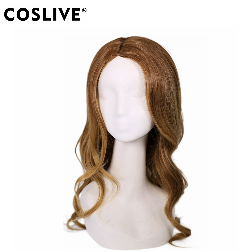 Coslive Supergirl Wig Halloween Cosplay Costume Brown Long Curly Hair Accessories High t ...