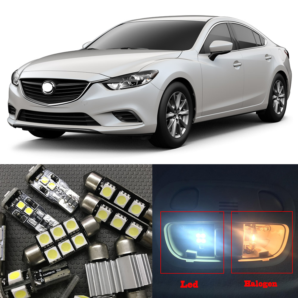 13pcs White Car <font><b>LED</b></font> <font><b>Light</b></font> <font><b>Bulbs</b></font> Interior Package Kit For 2014 2015 2016 2017 <font><b>Mazda</b></font> <font><b>6</b></font> Map Dome Step/Courtesy License Plate Lamp image