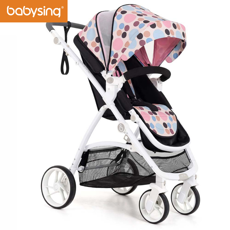 babysing Luxury Baby Stroller High View Reversible Seat Baby Carriage with Big Bottom Storage Bag Adjustable Canopy Pushchair baby stroller with cute ceiling swivel wheel pushchair wide seat deluxe high view traveling trolly with snack tray