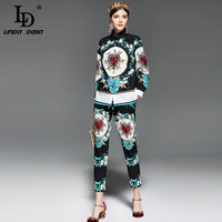 LD LINDA DELLA Runway Fashion Two Piece Suits Women S Clothes Set Long Sleeve Printed Blouse