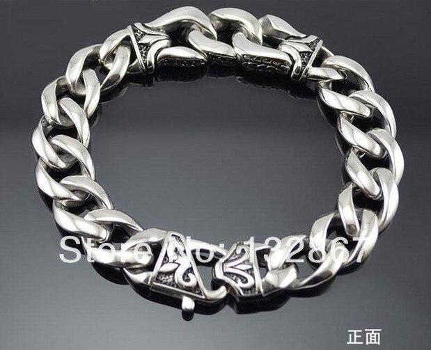 316l Stainless Steel Huge Silver Fleur De Lis Shield Curb Bracelet Chain Boy Men Jewelry In Link Bracelets From Accessories On