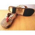 2016 Caliente de Moda de Señora Bidentado Flip Flop Flor Zapatillas Zapatillas Sandalias Zapatillas De Madera Zuecos Geta Japonés de Las Mujeres Del Verano