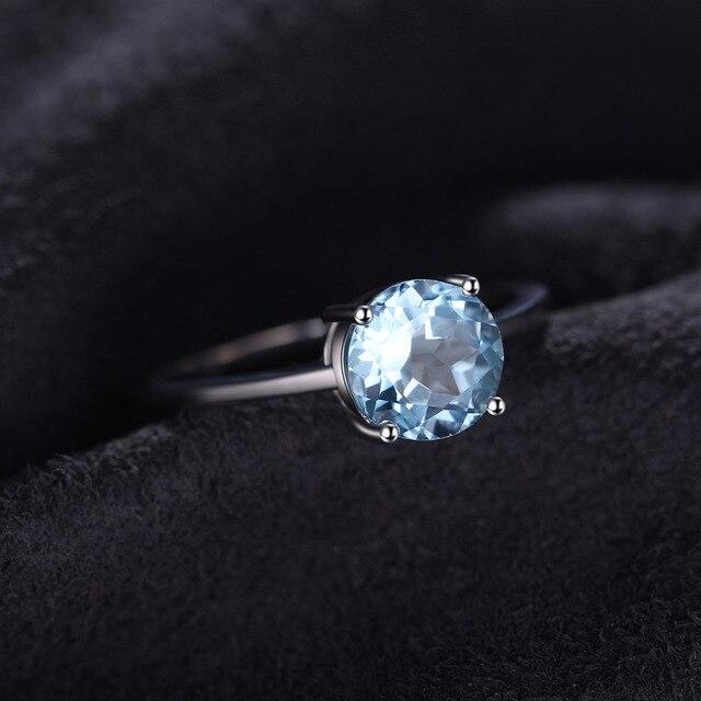 JewelryPalace Rotondo 1.6ct Naturale Cielo Blu Topazio Birthstone Solitaire Anello Solid 925 Sterling Silver Classic di Marca Gioielleria Raffinata