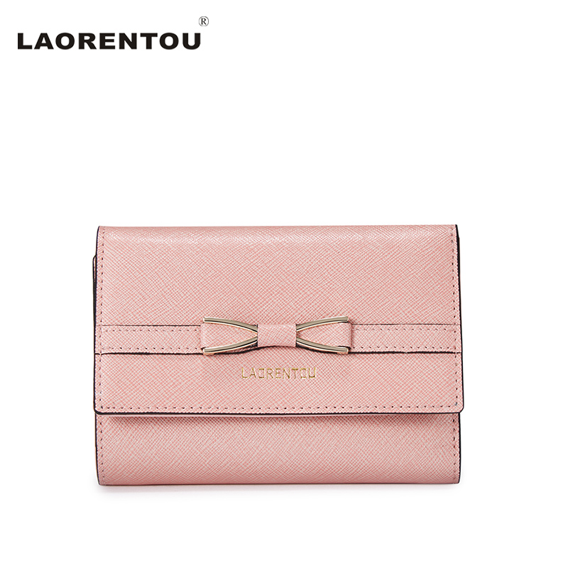 ФОТО LAORENTOU Exclusive Bow Knot Leather Wallet Women Small Wallet Made In Cowhide Leather Lady Wallet Purse Clutch Standard Wallet