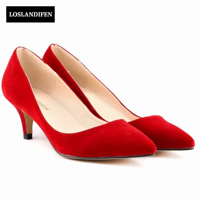 2f430682288 US $40.63  Red Color Classics Elegant Shallow Mid Heels Faux Suede Pumps  Shoes Women Pointed Toe Slip On Summer Chaussure Femme Female -in Women's  ...