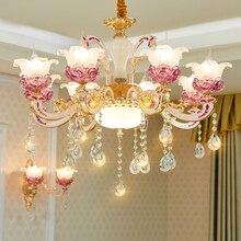 غرفة نوم رومانسية الثريا السقف ضوء غرفة المعيشة الحديثة ثريا تركب بالسقف الكريستال الذهب الثريات غرفة الطعام مصابيح LED