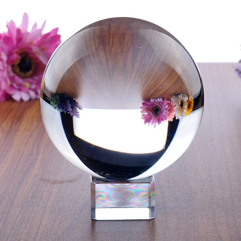H & D 100mm Trasparente Sfera Di Cristallo Magico per Fengshui Palla, La Meditazione, Guarigione Di Cristallo, divinazione Sfera, Decorazione Della Casa di Trasporto Del Basamento