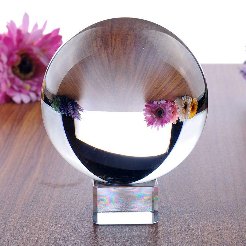 H & D 100mm claro BOLA MÁGICA cristalina de la bola de Fengshui, meditación, curación de cristal, adivinación esfera decoración del hogar soporte libre