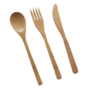 Image 1 - Garfo faca colher cultery jam utensílios de mesa conjunto acampamento ao ar livre bambu natural janpanese estilo ocidental louça