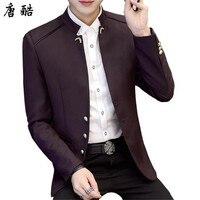 Tang cool 2018 mandarin collar casual blazer for men stand collar blazer hombre single breasted China tunic jacket