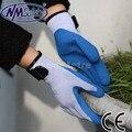Nmsafety alta qualidade 10g nylon látex luvas de segurança do trabalho manter os homens quentes de luvas de trabalho, luvas de trabalho