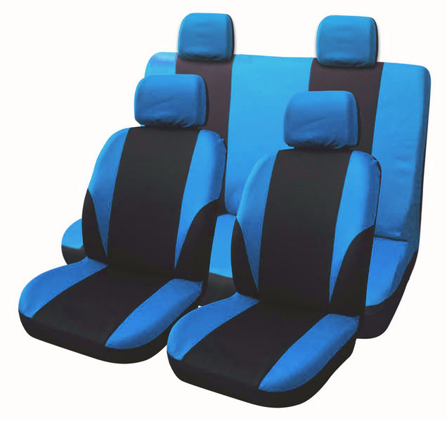 Top Quality Gecko Embroidery 9pcs Car Seat Cover Universal Fit Blue