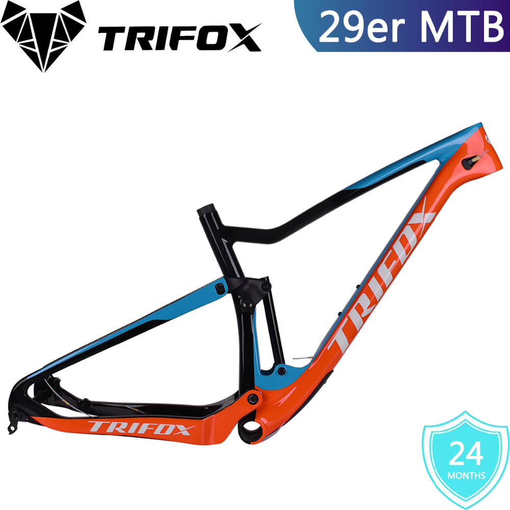 2018 TRIFOX MTB Suspension Bike Frame 29er, Boost 148 * 12mm Rear Spacing, T700 Full Carbon Fiber Suspension Bicycle Frame