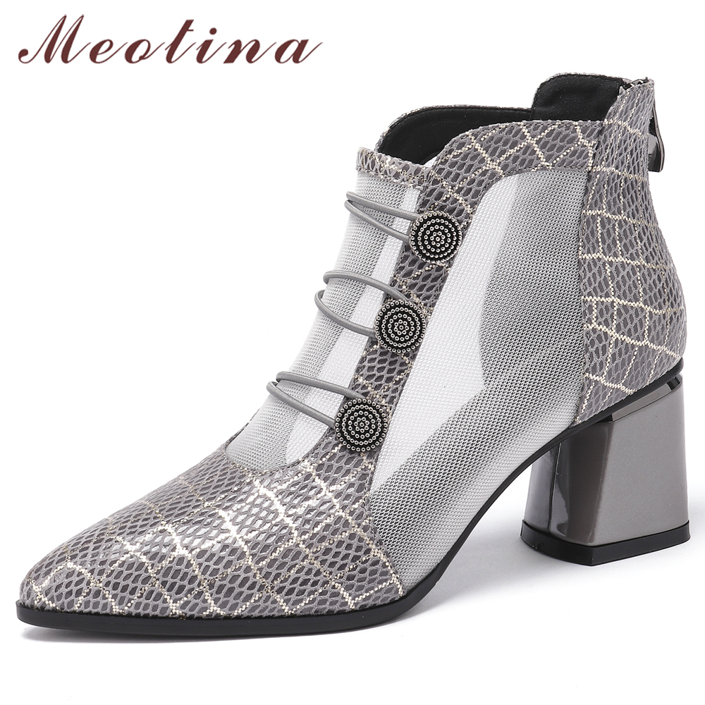 Meotina Summer Ankle Boots Women Shoes Natural Genuine Leather Mesh Thick High Heel Short Boots Sexy