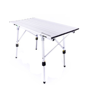 Image 1 - גובה מתכוונן שולחן מתקפל כסף שולחן נייד קמפינג מנגל טיולים נסיעה חיצוני פיקניק מתקפל אל Ultralight שולחנות