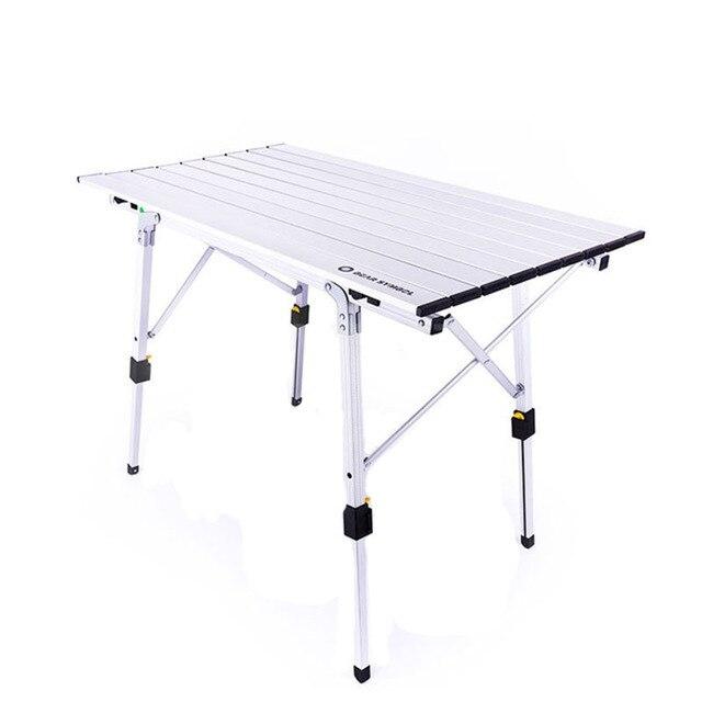גובה מתכוונן שולחן מתקפל כסף שולחן נייד קמפינג מנגל טיולים נסיעה חיצוני פיקניק מתקפל אל Ultralight שולחנות