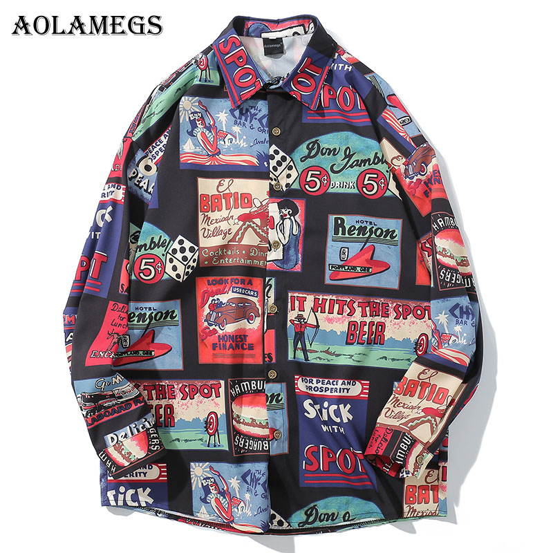 Aolamegs Shirts Men Picture Printed Male Shirts Cotton Full Sleeve Extended Shirt Fashion Turn-down Collar Autumn Streetwear