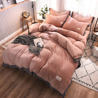 Winter 4pcs Crystal Flannel Solid thick Bedding set Winter Warm A/B side High quality Duvet cover set Bed Sheet Queen King size