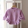 2017 de primavera y otoño de los bebés niños lindos moda de punto suéter de color sólido suéter de los bebés