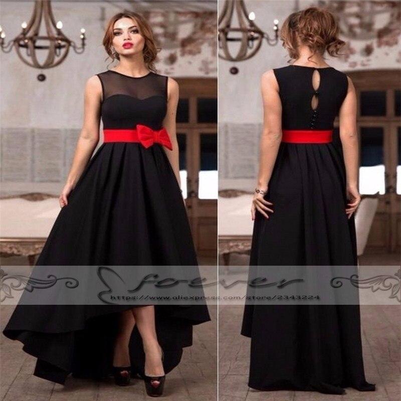 elegant black satin long prom dresses short front long