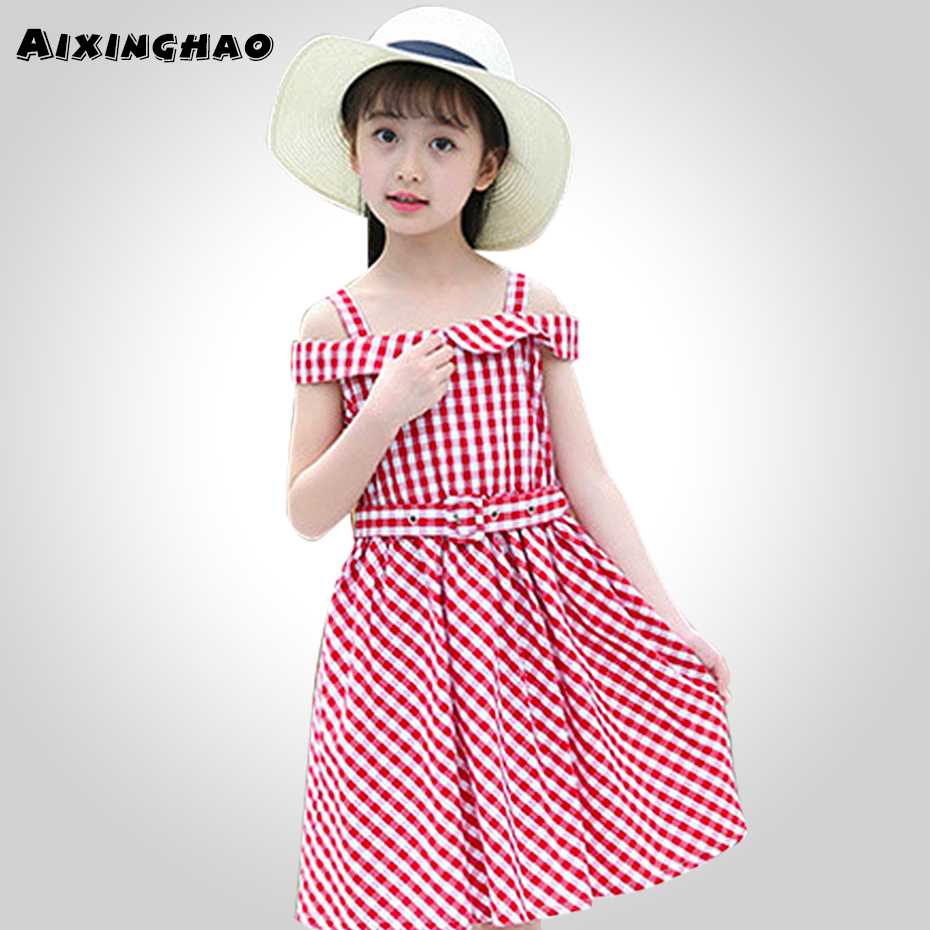 Kids Baby Toddler Girl Off Shoulder Plaids Checked Party Princess Dresses
