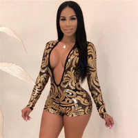 Sparkling Sequins Sexy Deep V Neck Hollow Out Playsuits Women Long Sleeve Fashion Jumpsuits Bodysuits Catsuit Short Overalls