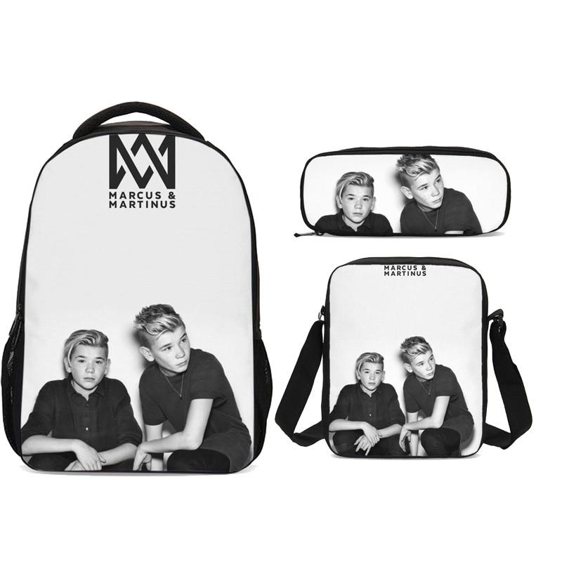 Hip Hop Style Marcus And Martinus Pattern Backpack For Men Women 3Pcs/Set Portfolio Leisure Bag Sling Bag Fashion Daily Backpack