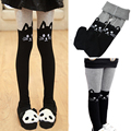 Winter Girls Thick Warm Tights Stockings Cat Patchwork Pantyhose Elastic Cotton Kids Children Girl Clothes 3-12 Years
