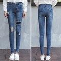 2016 Outono buraco Cintura Oriente Mulheres Jeans Stretch Skinny Calças Lápis Cor Wathet Denim Casual Mulheres Plus Size 25-31