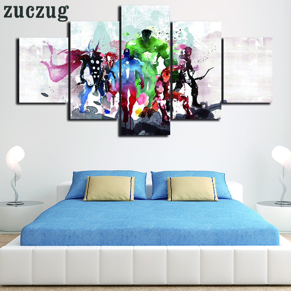 Gerahmte 5 Stücke Moderne Print the Avengers Aquarell Malerei ...