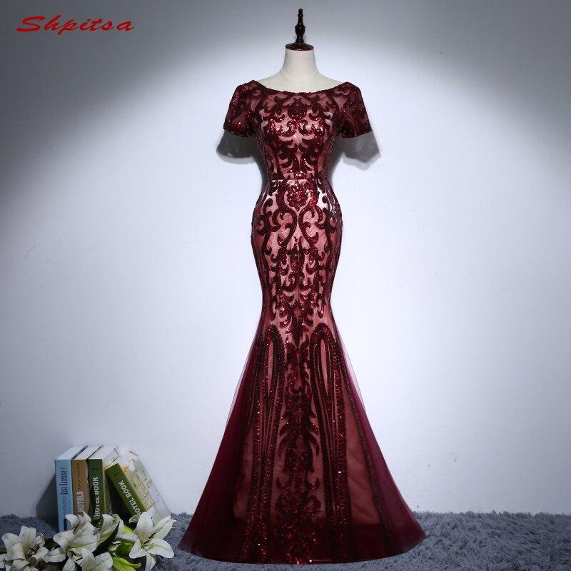 Sexy bordeaux longue sirène robes de soirée fête Sequin femmes robes de soirée formelles porter robe de soirée longue