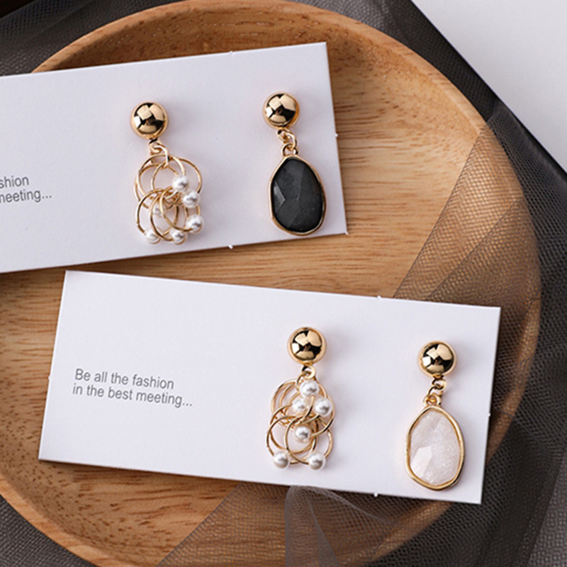 MUZHE Two-tone Silver Gold Alloy Coil Ball Drop Earring Cool Women Girls Jewelry