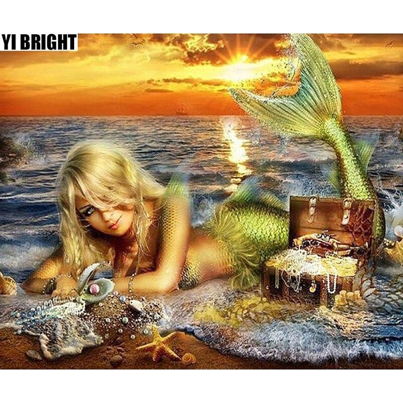 YI BRIGHT DIY 3D Diamond Embroidery,Cross Stitch, Mermaid & Treasure Mural,Full Square&Round Diamond Painting,Home Decor,GT