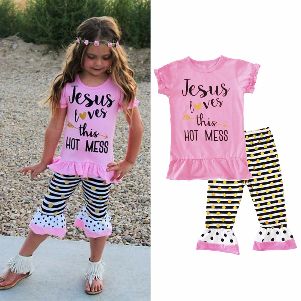 Kid Baby Girl Summer Casual Clothes Jesus Loves Letter t Shirt  Polka Dot Striped Pants Ruffle Outfits 2pcs Set 1t-6t baby loves