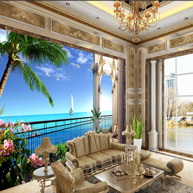 Custom 3D Photo Wallpaper Murals Sea View Room Background Wallpaper 3D TV Background Wallpaper Mural Home Decor For Living Room book knowledge power channel creative 3d large mural wallpaper 3d bedroom living room tv backdrop painting wallpaper