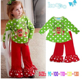 New 2015 autumn clothing exclusive new girls fawn Christmas Santa suit green little virgin suit two-piece outfit