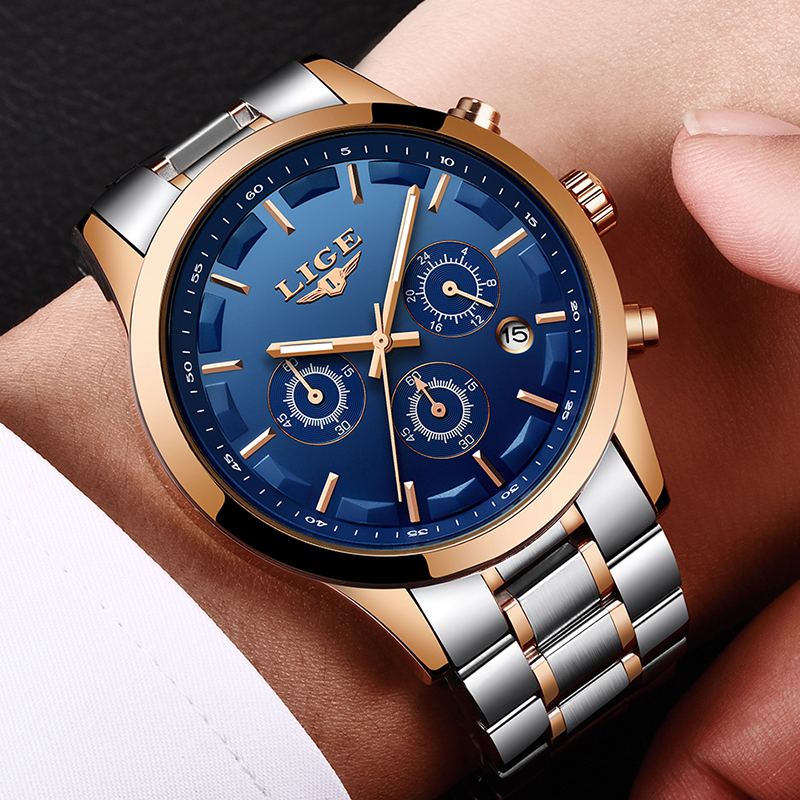 LIGE Mens Watches Top Brand Luxury Waterproof 24 hour Date Quartz Watch Man Full Steel Sports Wrist Watch Men Waterproof Clock longbo top brand luxury lovers watch fashion full steel quartz watch men women waterproof auto date watches unisex hour montre