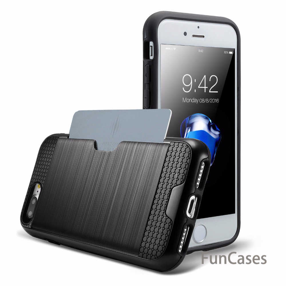 ShockProof Hybrid TPU+PC Armor Case For Apple iPhone 7 6 6S 8 5 5S Plus SE Credit Card Holder Slot Silicon Phone Back Cover Capa
