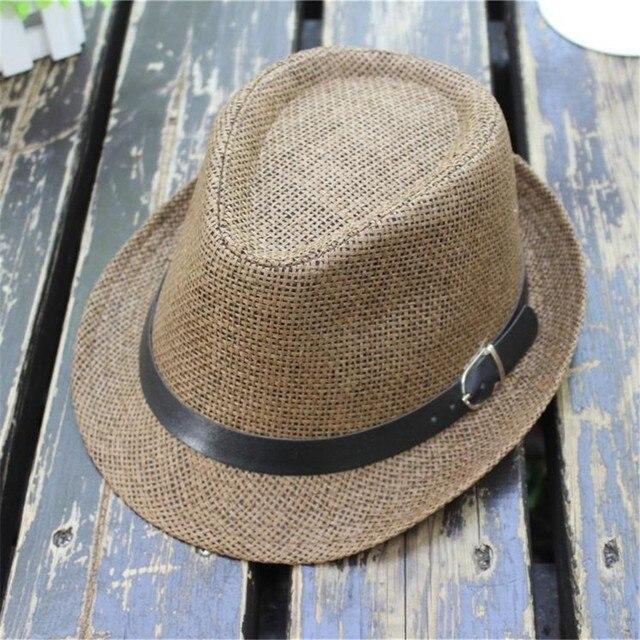 97927460 2019 Hot Sale Children's Trilby Gangster Cap Lattice Pattern Beach Sun  Straw Hat Band Sunhat For
