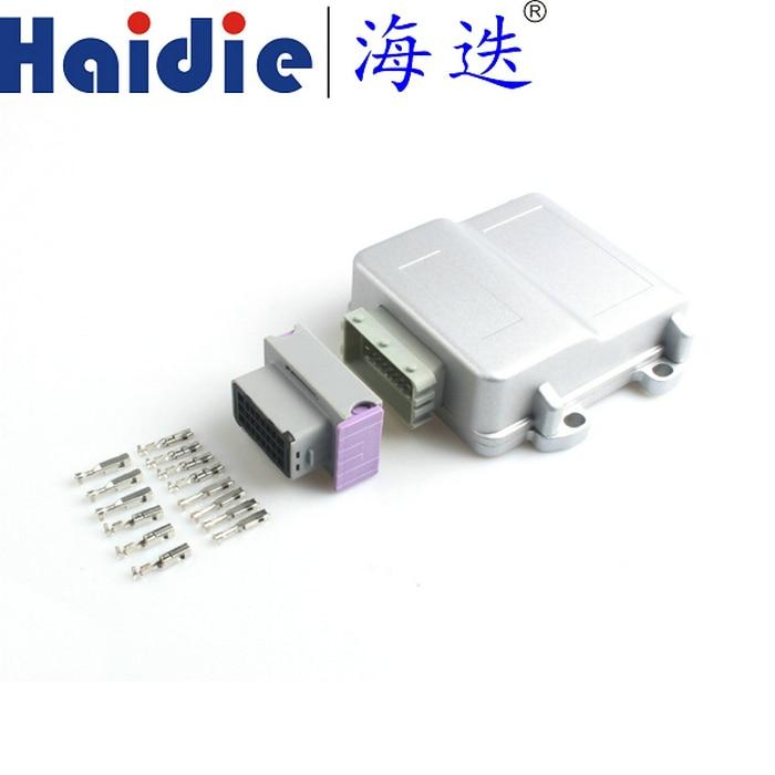 Free shipping 24pin grey male female ECU generator controller plug FCI circuit connector with 24p Aluminum box