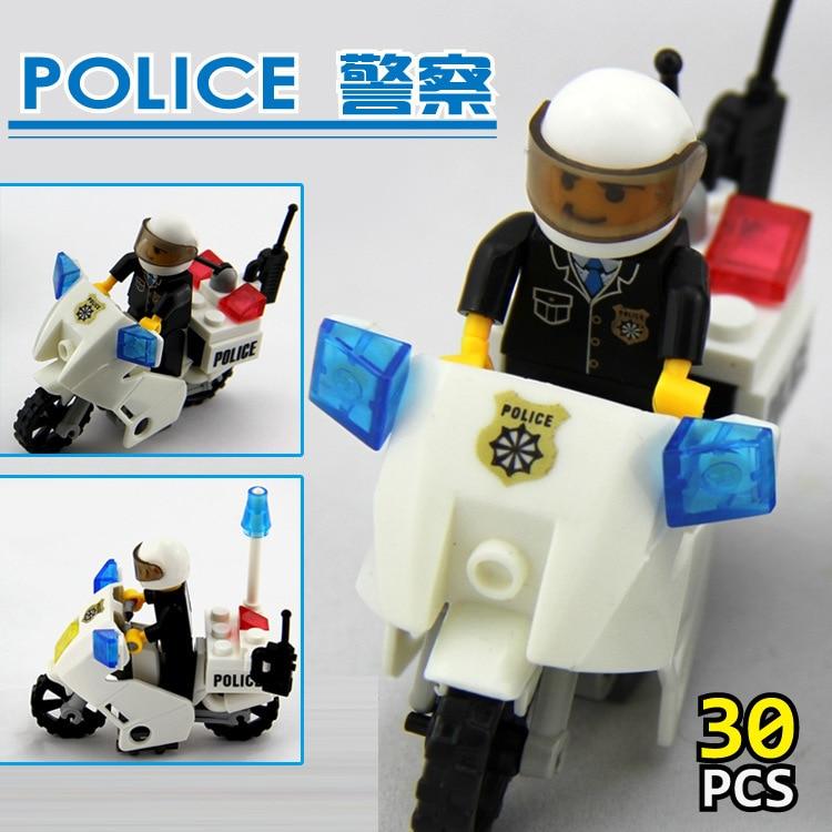 KAZI Polis Motorcykel Playmobile 30st Building Block Tegel Assemblage Utbildning Leksaker Modell Brinquedos Gift för Children6734