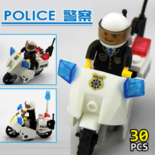 KAZI Police Motorcycle Playmobile 30pcs Building Blocks Bricks Assemblage Education Toys Model Brinquedos Gift for Children6734