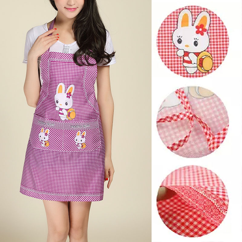 Cartoon Apron Rabbit Kitchen Cooking Sleeveless Double Pocket Household Cleaning Aprons For Adult Women Lady Cloth Protection