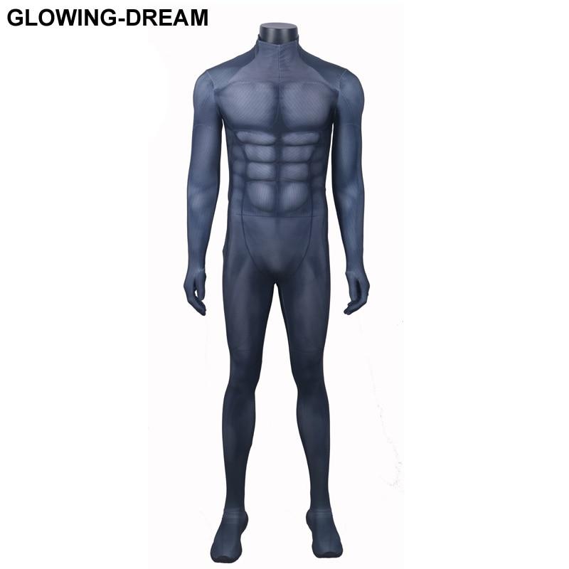 Высокое качество мышечной обивка Бэтмен Косплэй костюм без битой логотип 3D печати Мышцы тени Бэтмен Зентаи костюм с U молния