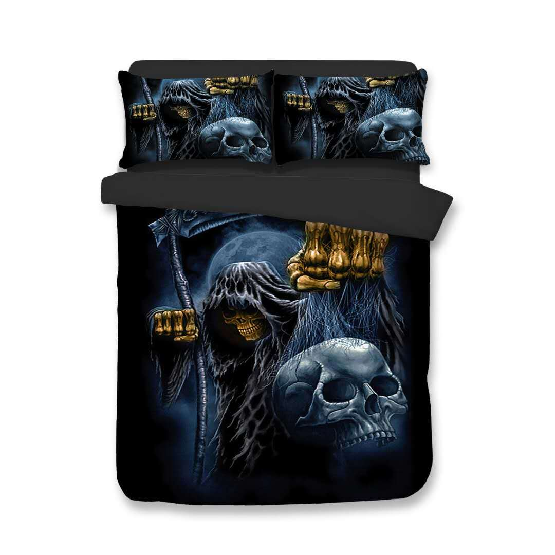Duvet Cover European American Embrace Death skull Knight wizard 2pcs/3pcs Family student dormitory Quilt cover pillowcaseDuvet Cover European American Embrace Death skull Knight wizard 2pcs/3pcs Family student dormitory Quilt cover pillowcase