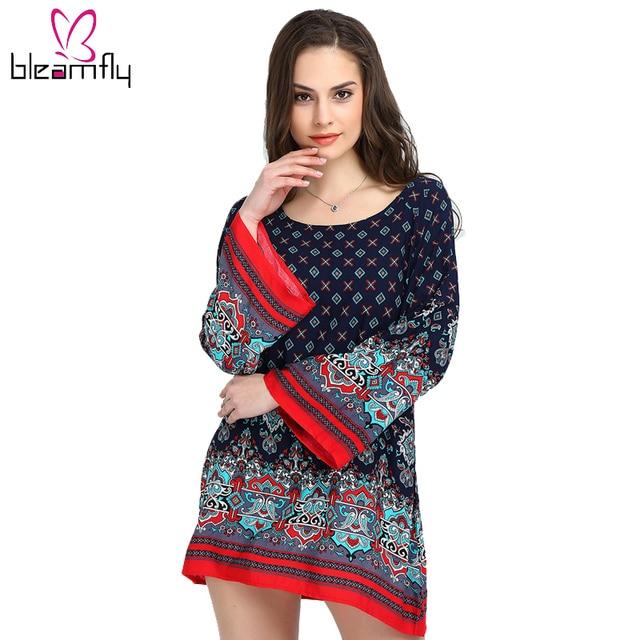 Women Boho Vintage Dress Long Sleeve Beach Loose Bohemian Tunic for Female  Maxi Plus Size 3XL Clothing Fall Autumn Ethnic Shift 9ee12d6051ef