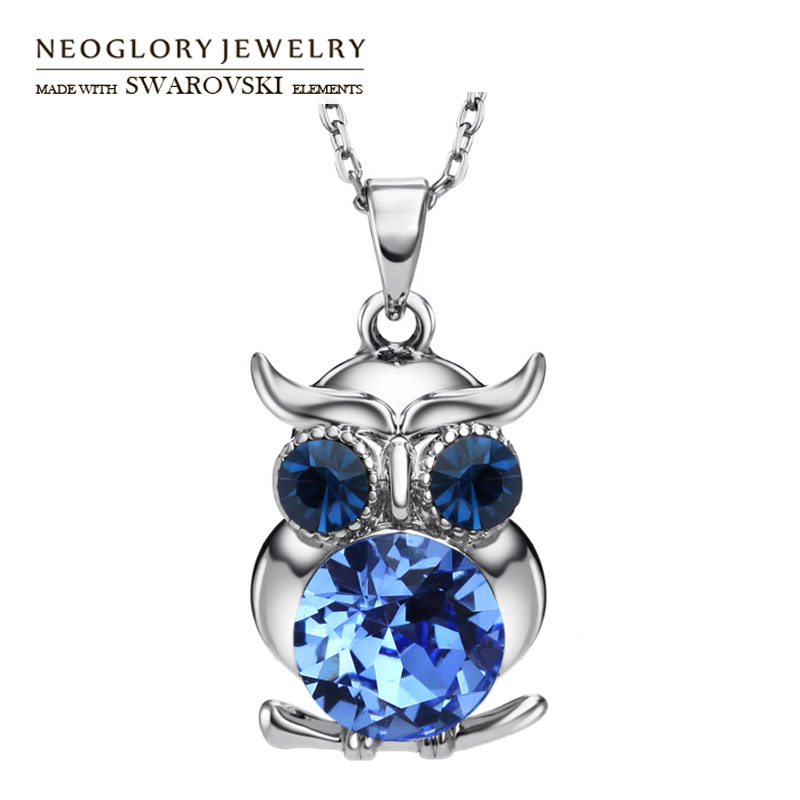 Neoglory Austria Rhinestone Pendant Necklace Owl Shaped Lovely Cute Stylish Animal Jewelry For Girl School Gift Daily Classic