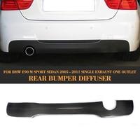 3 Series carbon fiber Car Rear lip spoiler diffuser For BMW E90 M Sport 2005 2011 325i 335i Single exhaust