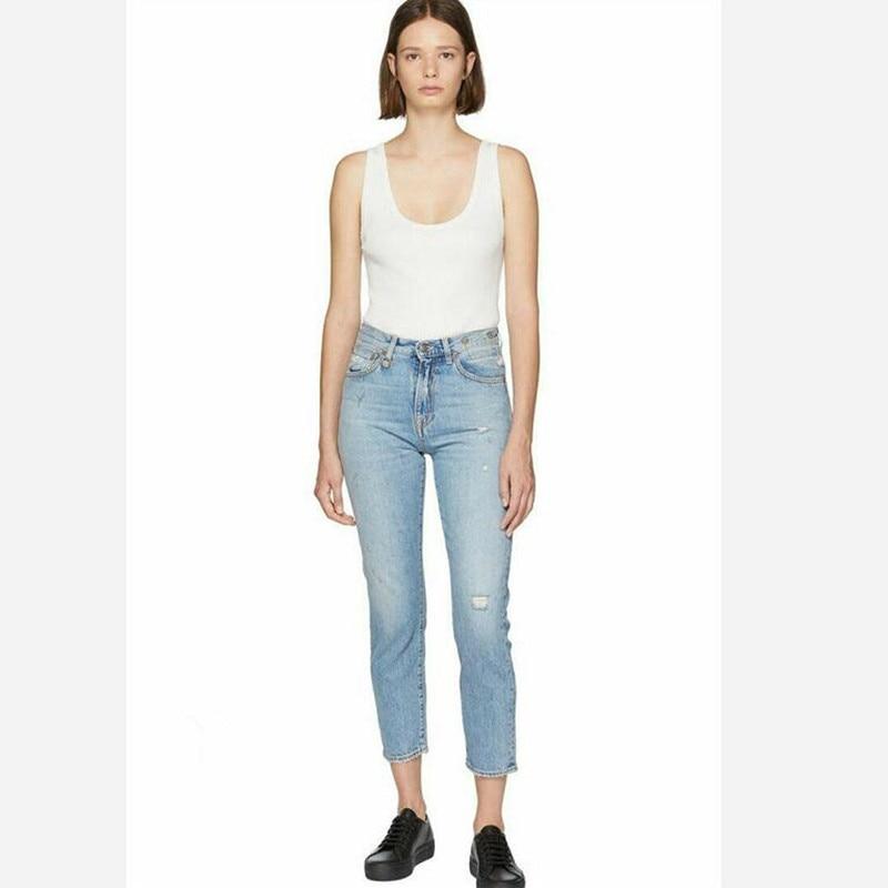 2019 New Women Ripped Stretch Jeans Hole Blue Straight Skinny Denim Pants